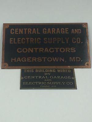 2 Vintage Hagerstown MD Brass Plaques Signs Plates Central Garage Electrical Sup