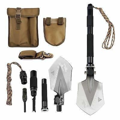FiveJoy Compact Military Folding Shovel - Portable Multitool Tactical Ent... New