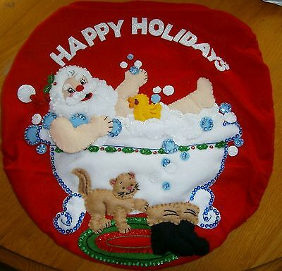 "Completed Bucilla""Splish Splash Santa"" 2 Piece Bath ensemble Felt Applique"