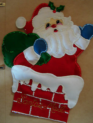 "Completed Bucilla ""Kris Kringle"" Felt Christmas Card Holder"