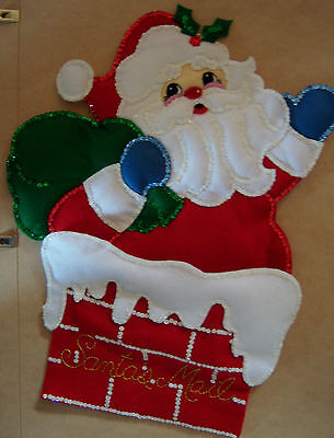 "Finished Bucilla ""Kris Kringle"" Felt Christmas Card Holder"
