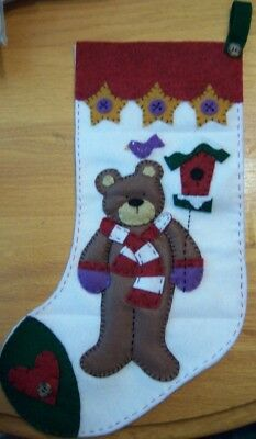 Finished HANDMADE 'JANLYNN TEDDY' FELT CHRISTMAS STOCKING