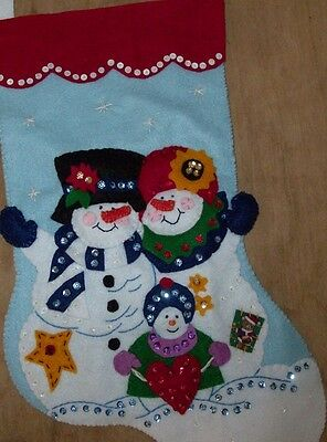 Completed Handmade Felt Christmas Stocking-Finished