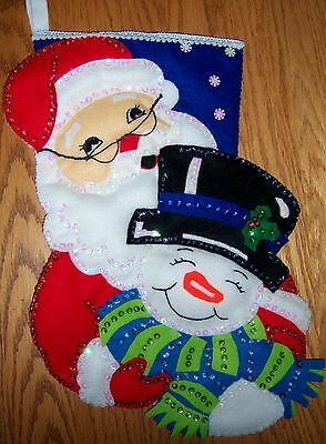 Completed  Design Works ''winter Pals'' Felt Applique Christmas Stocking