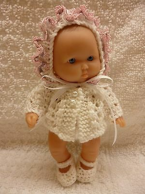"Hand knitted matinee set for 5"" Berenguer doll/OOAK"