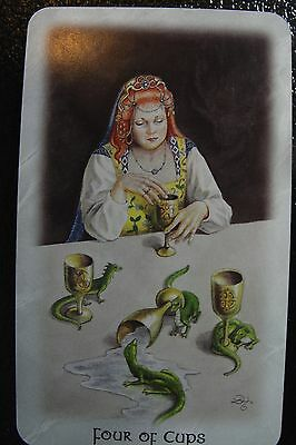 Four of Cups The Celtic Dragon Tarot Single Replacement Card Excellent Condition