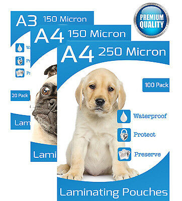 A4 A3 150 250 Micron Laminating Pouches in 10 20  50 100 Packs Glossy