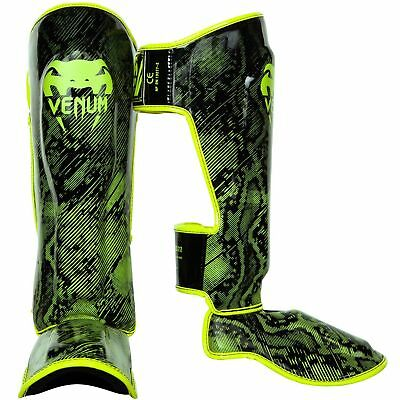 Venum Shin Guards Fusion leather Muay Thai Kick Boxing MMA Sparring Shinguards