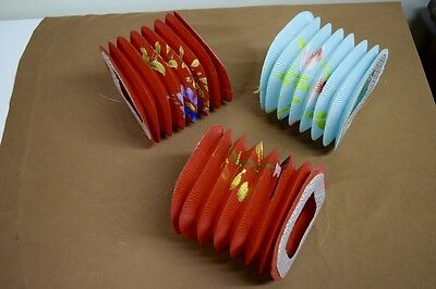 3 Vintage Chinese Accordion Paper Lanterns