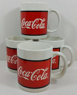 Lot of 4 Coca Cola White and Red Coffee Tea Mugs Coke Collectibles Gibson 1996