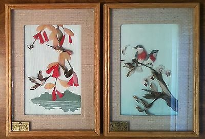 Pair of Vintage CAC Hummingbird Feather Art Pictures Framed