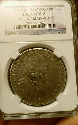 1801 MO FM Mexico 8R 8 Reales Silver Coin NGC Fine Details