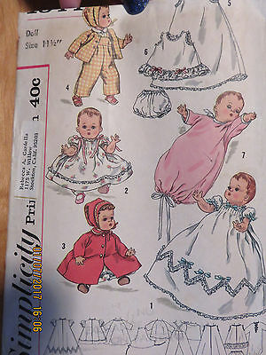 """VINTAGE 50's SIMPLICITY  DOLL CLOTHES PATTERN - 1844 - 11 1/2"""" BETSY WETSY"""