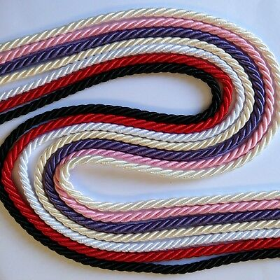 Satin Twisted Cord  ~ 7mm ~ Red White Black ~ Purchase by the Metre