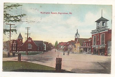 Washington Square, Fire Company Department HAGERSTOWN MD Vintage 1910 Postcard