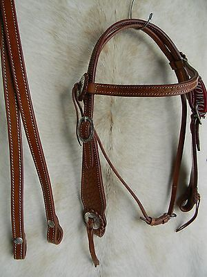 Medium Oil Basketweave Leather Western Horse Bridle Incl Reins NEW Tack