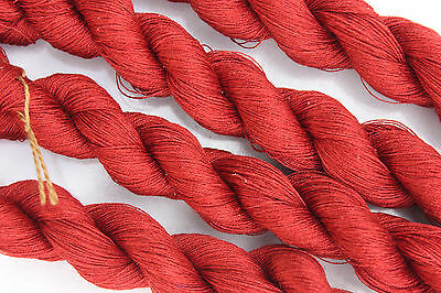 1 Skein - 100 Meters - 2ply - 100% Silk Hand Embroidery Thread - Hand Dyed - Red