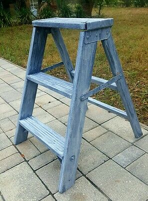 SHABBY COTTAGE SEASIDE COASTAL 3 Step Stool Ladder PLANT Stand BENCH  Display