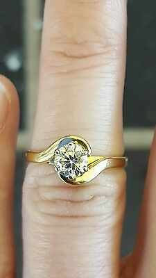 Genuine 18Ct Solid Yellow Gold 0.60Ct Solitaire Engagement Diamond Ring