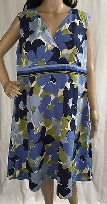 Croft & Barrow Plus Size Dress Casual Blue Floral Sleeveless Party Dress - 2X