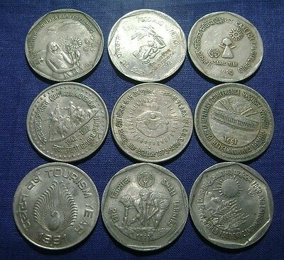 India - 1 One Rupee Coin - 9 Different - Commemorative Coins Lot - Cupro-Nickel
