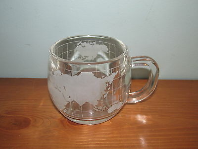 NESTLE NESCAFE 1980's Frosted Etched Glass World Globe 2 Coffee Cups Mug (K)