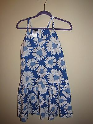 Blue White Floral Girls Kids Sundress size 7/8 NWT