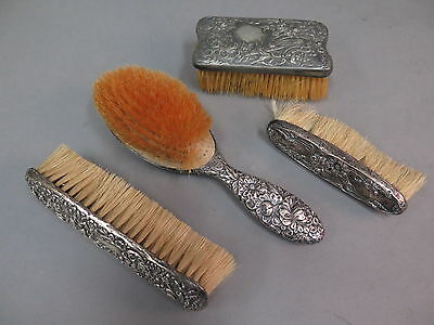 (4) Pc. Antique Sterling Silver & Silverplate Vanity Brush Set