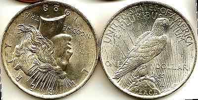 US 1923 Silver (90%) 'Peace' Dollar Uncirculated.