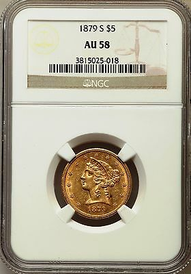 1879-S $5 Gold Half Eagle NGC AU-58 With FREE Shipping!!!