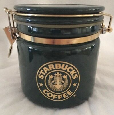 Starbucks Coffee Canister - Green & Gold With Siren Emblem