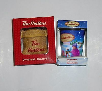 New in box  Lot of 2 Tim Hortons Christmas Ornament Coffee Cup Bean Bag Sack
