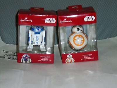 Lot of 2 New 2016 Hallmark Christmas Ornament BB8  R2-D2