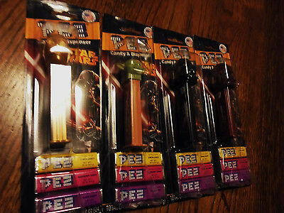 Star Wars Set Of 4 Different Pez Dispencers With Candy....new In Package