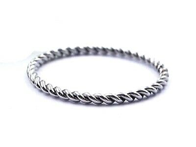 SILVER Stainless Steel Twisted Rope Ring Stackable Size 4 5 6 7 8 9 10 11 H to V