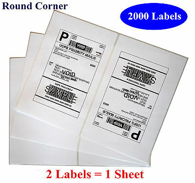 2000 Round Corner Shipping Label 2 Per Sheet - 8.5 x 5.5 Self Adhesive USPS 5126