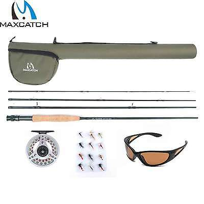 Fly Fishing Starter Kit Fly Rod and Reel With Fly Lines &Flies&Sunglasses&Leader