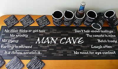 Man Cave Bar Set includes 1 x Bar Runner, 6 x Stubby Holders, 6 x Drink Coasters