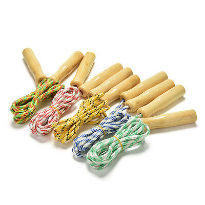 2.4M Kids Skipping Rope Wooden Handle Jump Play Sport Exercise Workout Toy liau