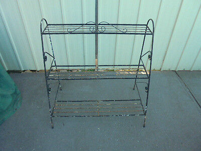 Vintage Retro wrought iron Metal Pot plant stand - Rustic , industrial,