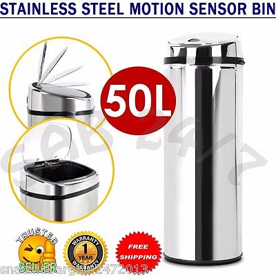 Stainless Steel Motion Sensor Rubbish Bin Trash Can Disposal Waste Automatic 50L