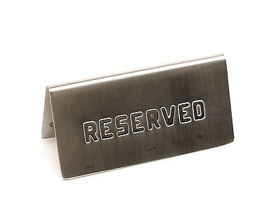 """Genware NEV-RES-01 Table Sign """"Reserved"""" Stainless Steel 15 cm x 5 cm"""
