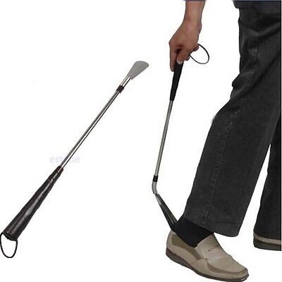 58CM Stainless Steel Long Handle Shoe Horn Lifter Flexible Shoehorn Useful
