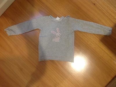 Toddler Girl Grey Jumper with Pink Rabbit