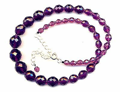 Pretty Vintage Faceted Graduating Amethyst Crystal Bead Necklace