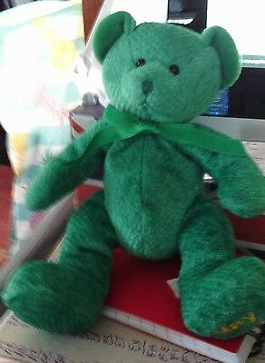 Russ  Collectable  Bears.    Small  Green. B'day  Or Name  Bear   ''may''