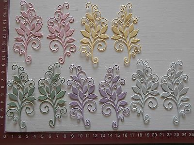 Die cuts - Leafy Flourish x 10 (5 left and 5 right) - Pastel Shades