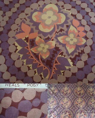 Rare vintage 1960s Heals Fabric 'Posy' Catherine Molyneaux 43cm by 112cm X 4