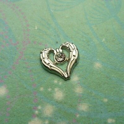 Angel Wings Heart with Jewel - Charm