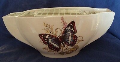 New Devon Pottery Newton Abbot Flower Vase with Red Admiral Butterfly